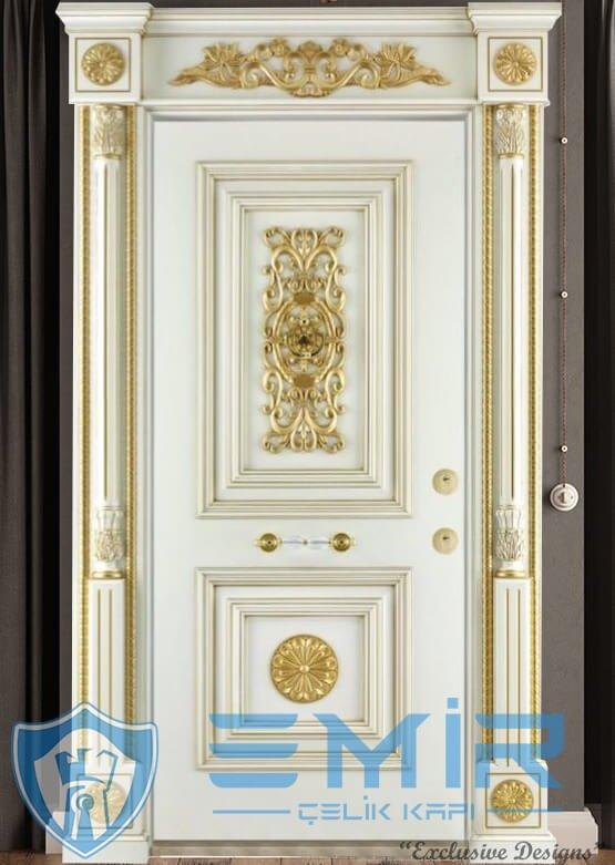 Altın Varak İşlemeli Lüks Klasik Çelik Kapı İndirimli Çelik Kapı Modelleri Özel Tasarım Çelik Kapı