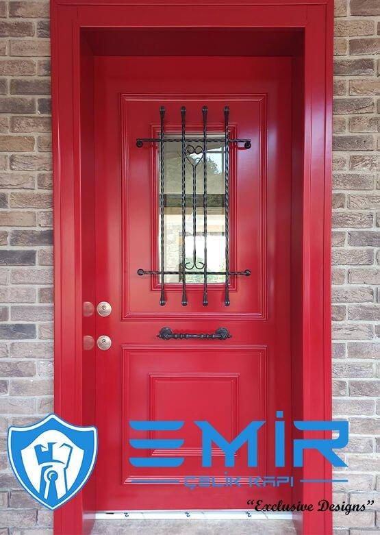 Kırmızı Villa Kapısı Dış Kapı Modelleri Çelik Kapı2