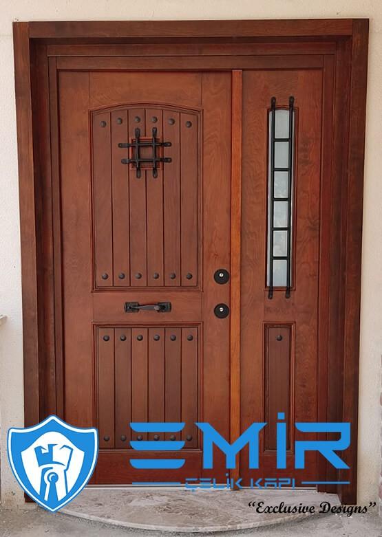 emir villa kapısı doğal ireko ahşap kaplama villa giriş kapısı modelleri